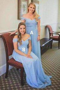 Charming Off the Shoulder Sky Blue Sweetheart Chiffon Wedding Party Dresses Bridesmaid Dress XHMPST15117