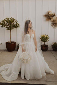 Ball Gown Strapless Sweetheart Ivory Wedding Dresses with Appliques Beach Wedding Gowns XHMPST15499