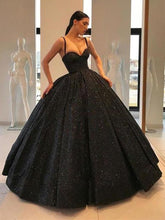 Load image into Gallery viewer, Spaghetti Straps Black Sweetheart Quinceanera Dresses Ball Gown Sequins Prom Dresses XHMPST15410