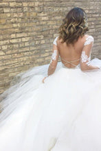 Load image into Gallery viewer, White Excellent Tulle Bateau Neckline Long Sleeves A-line Appliques Wedding XHMPST14487