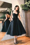 Sweetheart Satin Tea Length Spaghetti Straps Short Prom Dresses Homecoming XHMPST14191