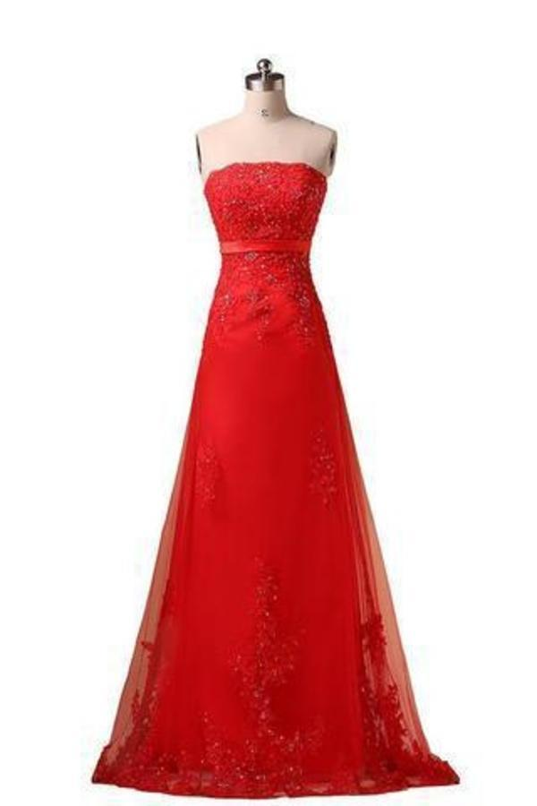Sweetheart Pretty A-line Strapless Prom Dresses Applique Prom Dress Long Prom XHMPST14189
