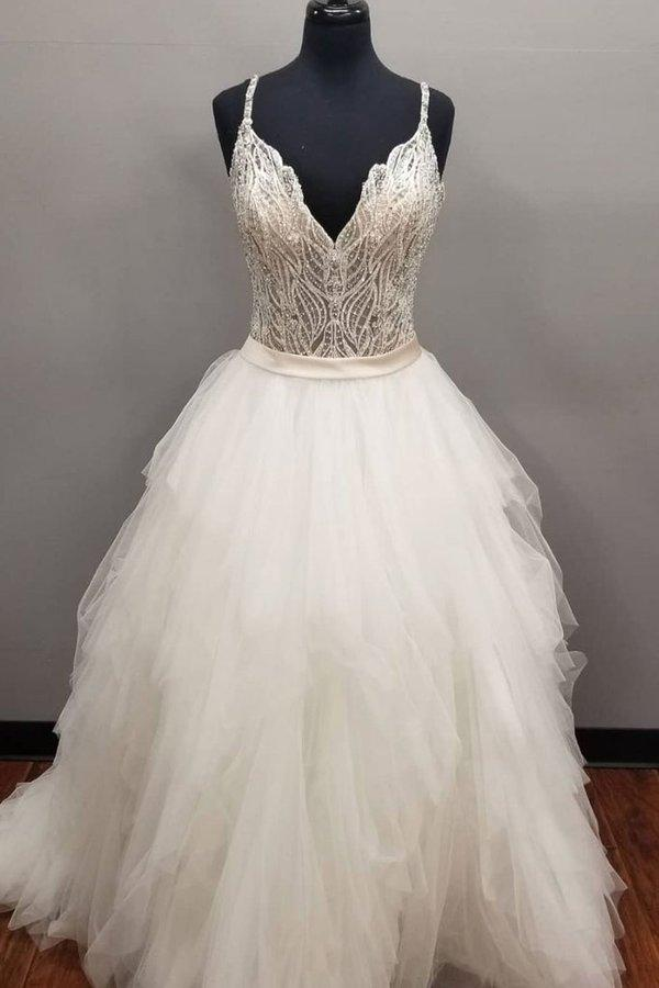 Ivory V Neck Tulle Long Spaghetti Straps Beads Asymmetrical Cheap Prom Dresses uk XHMPST14906