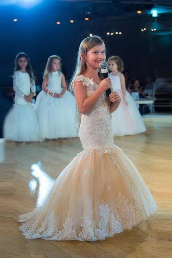 Mermaid Capped Sleeves Lace Appliques Flower Girl Dresses Tulle Sheer Neckline Dress XHMPST14912