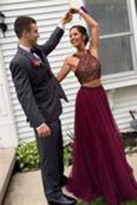 Stylish Burgundy Two Pieces A-line Beading Long Wedding Party Gown Cocktail Formal XHMPST14147