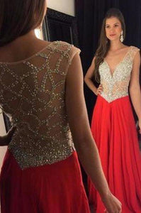 Red Prom Dress Slit Prom Gowns Mermaid With Rhinestones Crystal Chiffon Plus Size XHMPST13378