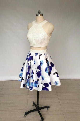 A Line Two Piece Ivory Jewel Floral Print Satin Short Homecoming Dress with XHMPST10653