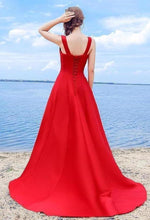 Load image into Gallery viewer, Sexy Elegant Red A-line Halter Satin Sweetheart Lace Up Simple Prom XHMPST13579