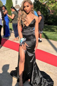 Sexy Strapless Mermaid V Neck Black Prom Dresses with Slit Sleeveless Long Evening Dress XHMPST15362