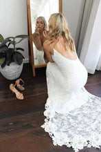 Load image into Gallery viewer, Sexy Spaghetti Straps V Neck Mermaid Ivory Wedding Dresses Beach Simple Bridal XHMPST13710