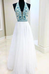 White Chiffon Long Prom Dress V Neck Halter With Blue Beaded Bodice Dress Evening XHMPST14484