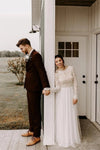 Elegant A Line Long Sleeves Round Neck Backless Boho Wedding Dress Bridal XHMPST20409