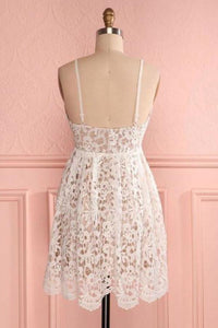 A Line Spaghetti Straps Short Lace Ivory V Neck Homecoming Dress Short Prom Dresses XHMPST14841