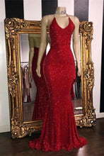 Load image into Gallery viewer, Sexy V Neck Red Glitter Sequins Prom Dresses Mermaid Halter Backless Evening XHMPST13737