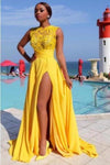 Sexy Elegant A line Yellow Chiffon Cap Sleeves Lace Evening Prom XHMPST13576