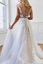 Load image into Gallery viewer, A Line Deep V-Neck Backless White Tulle Prom Dress With Appliques Evening Dresses XHMPST14997