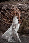 Unique Mermaid Off the Shoulder Straps Ivory Lace Beach Wedding Dress Bridal XHMPST14345