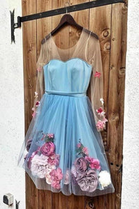 Unique Long Sleeve Blue Short Prom Dresses With 3D Appliques Homecoming Dress XHMPST15604