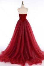 Load image into Gallery viewer, 2020 Princess V-Neck Organza Sleeveless Open Back Ruffles Burgundy Prom XHMPST10046