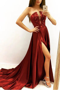 Elegant A line Strapless V Neck Burgundy Beads Prom Dresses with Slit Party XHMPST20412