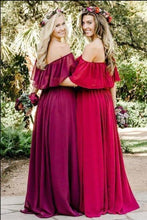 Load image into Gallery viewer, Simple A line Chiffon Red Off the Shoulder Flowy Bridesmaid Dresses Prom XHMPST13829