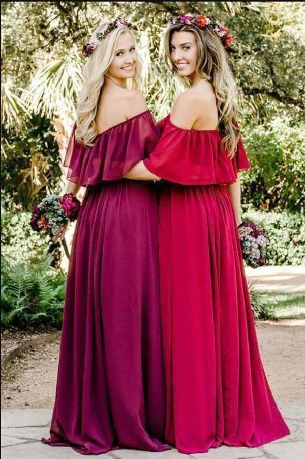 Simple A line Chiffon Red Off the Shoulder Flowy Bridesmaid Dresses Prom XHMPST13829
