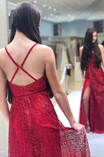 Load image into Gallery viewer, Sparkly V Neck A Line Red Spaghetti Straps Prom Dresses with Slit Evening XHMPST20447