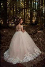 Load image into Gallery viewer, Cute Tulle Scoop Ball Gown Lace Appliques Beads Cap Sleeve Pink Flower Girl XHMPST11809