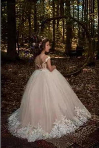Cute Tulle Scoop Ball Gown Lace Appliques Beads Cap Sleeve Pink Flower Girl XHMPST11809