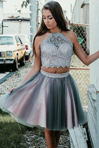 Simple Grey Two Pieces Knee Length Beads Halter Tulle Homecoming Dresses with XHMPST13904
