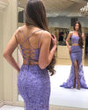 Elegant Two Pieces Mermaid Lilac Lace Slit Long Prom Dresses Formal XHMPST20417