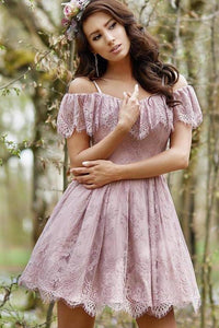 A-Line Cold Shoulder Purple Lace Homecoming Party Dress with Ruffles Prom Dresses XHMPST14965
