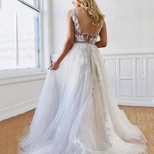 A Line Deep V-Neck Backless White Tulle Prom Dress With Appliques Evening Dresses XHMPST14997