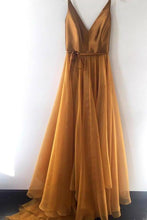 Load image into Gallery viewer, Spaghetti Strap A Line V Neck Formal Cheap Long Prom Dresses Evening XHMPST14019
