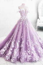 Load image into Gallery viewer, Ball Gown Off the Shoulder V Neck Tulle Lavender Beads Prom Dresses Quinceanera Dresses XHMPST15562