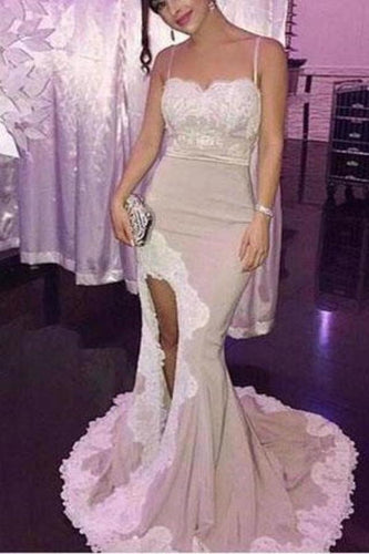Spaghetti White Lace Sexy Mermaid Side Slit Popular Cheap Prom Dresses Bridesmaid XHMPST14070