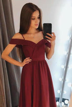 Load image into Gallery viewer, A line Burgundy Cold Shoulder Sweetheart Prom Dresses Satin Long Evening XHMPST10177
