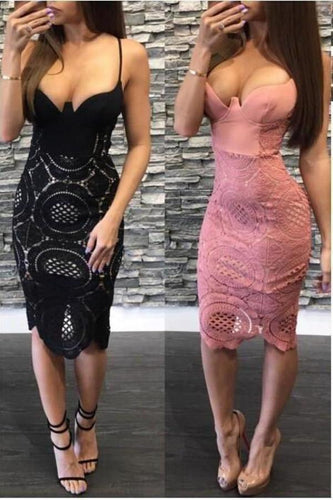 Sexy Spaghetti Straps Pink Sheath V Neck Lace Tea Length Homecoming XHMPST13703