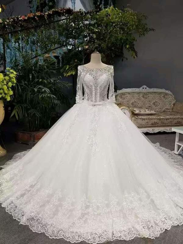 2020 New Arrival Cheap Price Tulle Wedding Dresses Lace Up With Appliques And Crystals 3/4 XHMPST14599