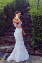 Load image into Gallery viewer, White lace two pieces mermaid beading long prom dress XHMPST14505