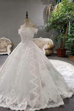 Load image into Gallery viewer, 2020 Luxurious Satin Wedding Dresses Lace Up Boat Neck With Appliques And XHMPST14797