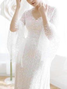 Unique V Neck Lace-up Mermaid Back Bridal Dresses Ivory Lace Trumpet Sleeve Wedding Dresses XHMPST15469