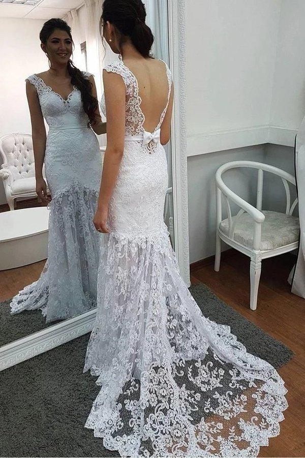 Elegant Mermaid Lace Applique V Neck Wedding Dresses Backless Wedding Gowns XHMPST15180