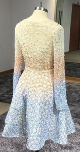 Stunning Beaded Sequins Long Sleeve V Neck Homecoming Dresses Short Prom XHMPST14124