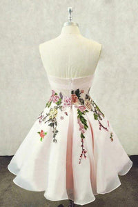 A Line Straps Sweetheart Pink Homecoming Dresses with Floral Print Short Prom Dress XHMPST14843
