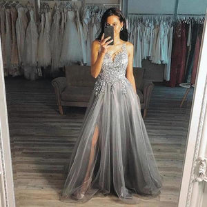 Chic Grey A Line V Neck Long Appliques Tulle Prom Dresses with Side Slit Formal Dresses XHMPST15131