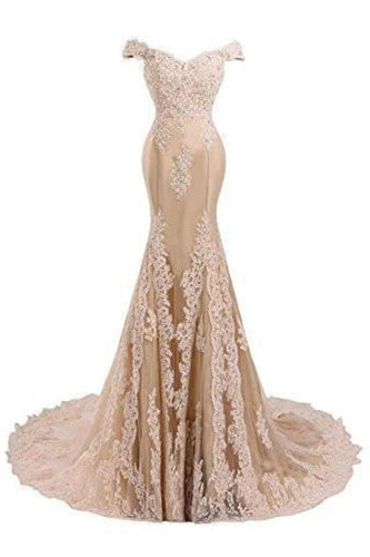 V Neckline Beaded Evening Gowns Mermaid Lace Prom Dresses XHMPST14408