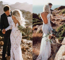 Load image into Gallery viewer, See Through V Neck Lace Rustic Wedding Dresses Long Sleeve Mermaid Wedding XHMPST13477