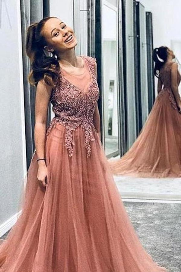 A Line Beaded Long Rosy Brown Tulle Prom Dresses Round Neck Evening Dresses XHMPST14991