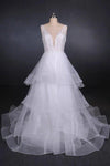 Elegant V-neck Tulle Open Back Wedding Dresses Asymmetrical Long Bridal Dresses XHMPST15217